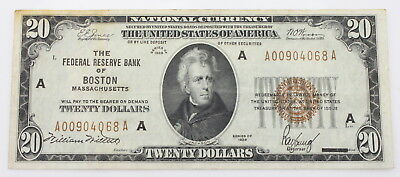 1929 U.s. $20 Boston Federal Reserve National Currency Note No Reserve #3350