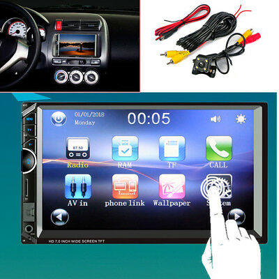 """Car Stereo Radio 2 DIN 7"""" HD MP5 Touch Screen Rear Camera Bluetooth Android IOS"""