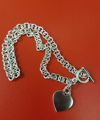 """Sterling Silver 16"""" Necklace with Toggle Clasp & Love Heart Charm"""