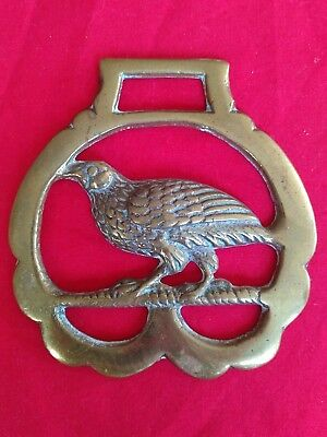 ANTIQUE OR Vintage Solid Horse Brass Partridge Pheasant Game Bird Design