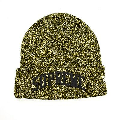 1b55b7a052bcd NWT Supreme New Era Black Yellow Speckle Arc Logo Beanie Knit Hat FW18  AUTHENTIC
