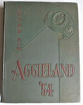 1954 TEXAS A & M COLLEGE STATION TEXAS YEARBOOK AGGIELAND Genealogy Reference