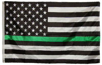 2x3 Ft USA Thin Grey Line 100D Woven Poly Nylon Flag 2/'x3/' Banner Grommets