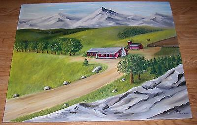 Americana Vintage Horse Plains Mountains Pastoral Red Farm House Barn Painting