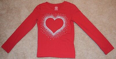 Faded Glory Red Girl's Size 10/12 Long Sleeved Shirt with Silver Glitter Heart