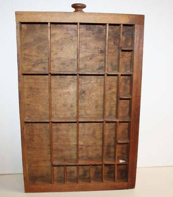 Antique Wooden Printer Typsetter Drawer Shadow Box 24 Compartments