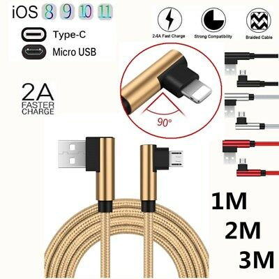 Braided Elbow 90° USB Cable Micro Type-c IOS 2A Fast Charger For iPhone X 8 7 6S