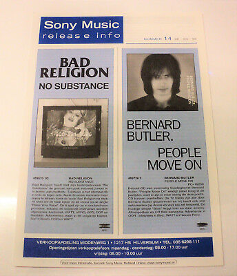 Bernard Butler Dutch Promo 1998 Sony Music Release Folder Suede Holland