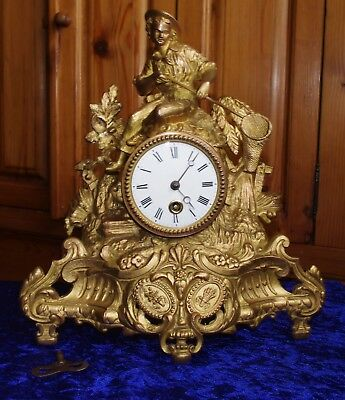 Antique French Gilded Spelter Mantel Clock In good working order with key