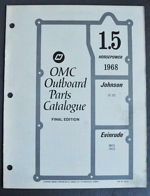 1968 EVINRUDE AND JOHNSON 40 HP OUTBOARD PARTS LIST CATALOG