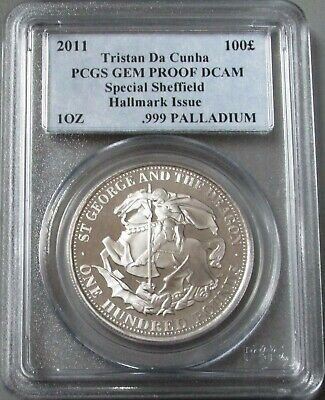 2011 Palladium Tristan Da Cunha 100 Pound Sheffield 1 Oz Pcgs Gem Proof Dcam
