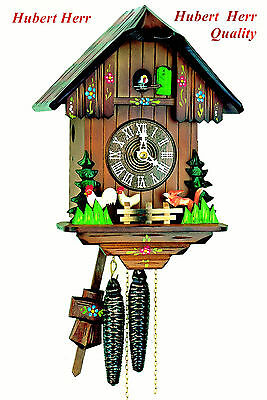 Hubert Herr,  lovely Black Forest made chalet type 1 day cuckoo clock as shown.