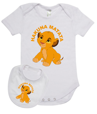 Baby Romper Suit PLUS a Baby Bib Disneys LION KING Hukuna Matata new cotton