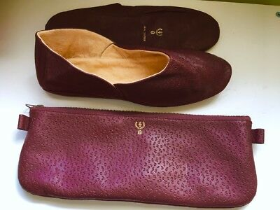 Vintage 1920s Red Leather Travel Slippers Men's Size 8 Made in England