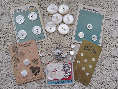 Vintage Lot Carded & Loose Mother Of Pearl/shell Buttons