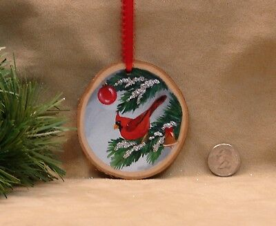 Hand Painted Wood Slice Ornament Christmas Glitter Cardinal