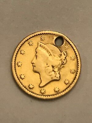 1 Dollar Liberty Head Gold Coin With Hole & Engraved Carrie On Back 1.3 Grams