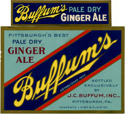 c1920 Buffum's Pale Dry Ginger Ale Soft Drink Bottle Label +neck Pittsburgh PA