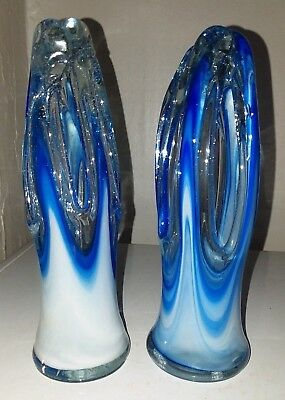 Vintage Murano Type Hand Blown Blue Swirl Glass Stretch Vases / Pair