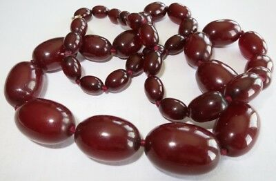 ANTIQUE ART DECO RICH CHERRY AMBER BAKELITE NECKLACE Vintage 80 gr tested