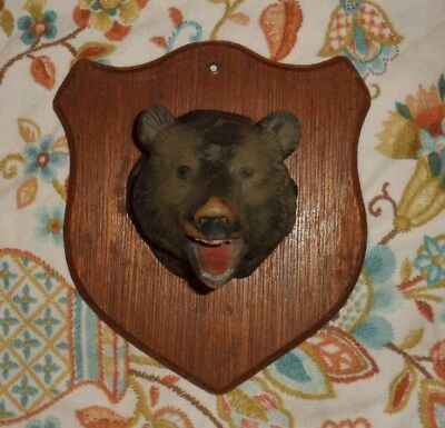 Vintage Plastic Mounted Bear on Wooden Plaque,  7 1/4""