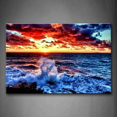 Framed Sea Spray Sunrise Wall Art Canvas Print Painting Seascape Pictures Decor