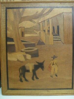 Vintage Wood Marquetry Inlay Picture Mexico Donkey