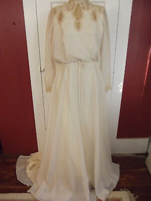 VTG 1970s Chiffon Wedding Gown Ivory Seed Pearls Lace BOHO by Bridal Couture 10