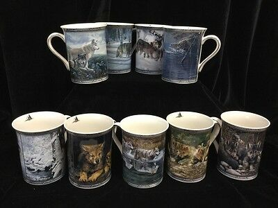 "9 Bradford Ed ""Spirit of the Pack"" Mugs 2005-6 Cabin Lodge Decor,Numbered Wolf"