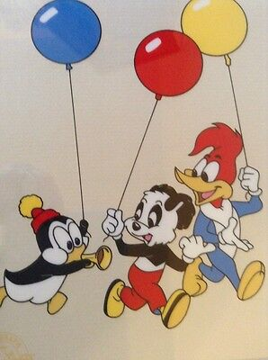 """Party Pals"" Walter Lantz LE Seriograph COA '91:Chilly Willy, Andy Panda & Woody"