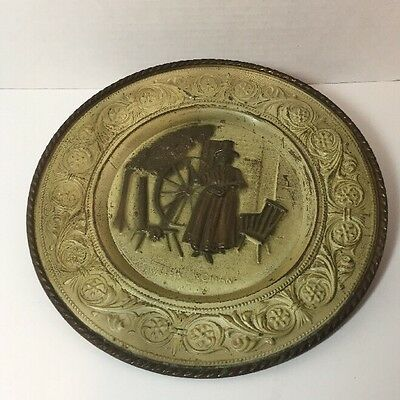 """Antique Stamped Brass Decorative Wall Plate Welsh Woman 12"""" Rubbed Paint"""