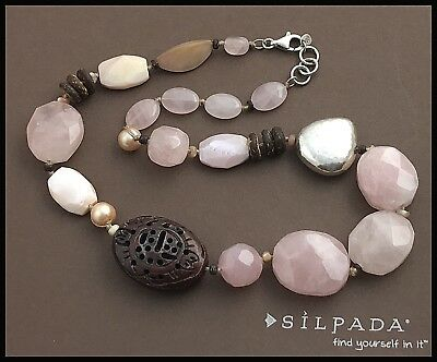 """SILPADA .925 Hammered Sterling Silver Bead & Rose Quartz Pearl Necklace 18-19"""""""