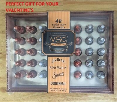 VSC 40 Liquor Filled Chocolates WOODEN BOX  Jim Beam, Remy, Sauza, Cointreau