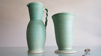 ART DECO VASE & JUG BY LOVATTS POTTERY ENGLAND.  28 & 20cm HIGH. FIRS CLASS.