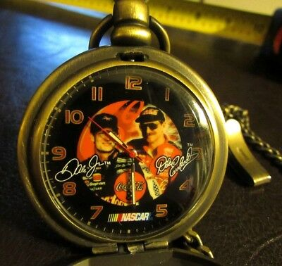 Coca Cola NASCAR Dale Earnhardt Father & Son Pocket Watch with Chain