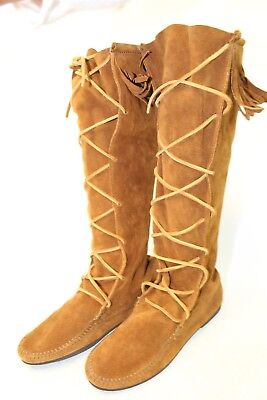 Tall Womens 9 Brown Natural Suede Leather Fringed Moccasin Knee Boots jq