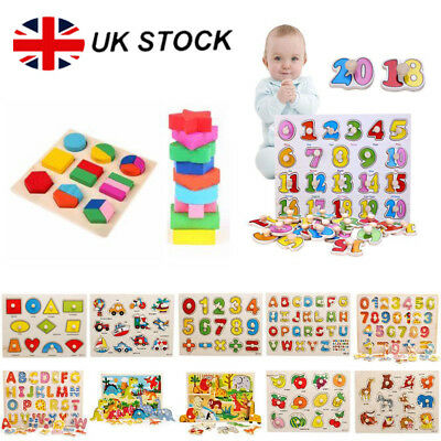UK Kids Toddler Wooden Jigsaw Puzzle Baby Alphabet Letters Animal Learning Toys