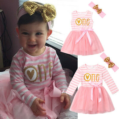 Canis Newborn Baby Girls 1st Birthday Floral Long Sleeve Tutu Skirt Dress Outfit