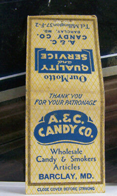 Rare Vintage Matchbook Cover B4 Barclay Maryland A & C Candy Co Smokers Articl