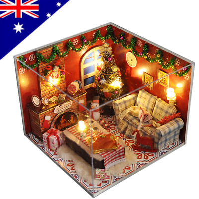 AU DIY LED Wooden Doll House Miniature Kit Dollhouse Kids Toy Happy Times Gifts