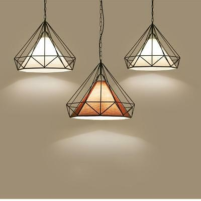 Metal Polygon Loft Art Deco Vintage Wire Pendant Kitchen Lighting Chandelier