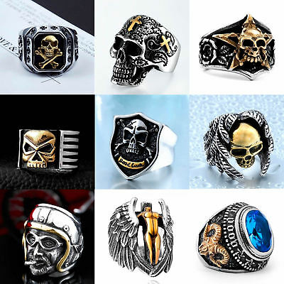 Mens Biker Silver Gold Stainless Steel Skull Gothic Motorcycle Ring Size 9-13