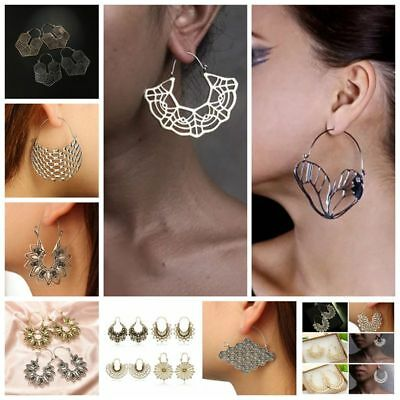 Pair big large metal geometric fashion statement hollow out dangle earring