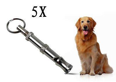 5Pcs Pet Dog Training Adjustable Ultrasonic Sound Silver Metal Whistle Keychain