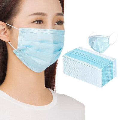 50pcs Disposable Dental Medical Surgical Anti-Dust Face Mouth Cover Mask Blue AU