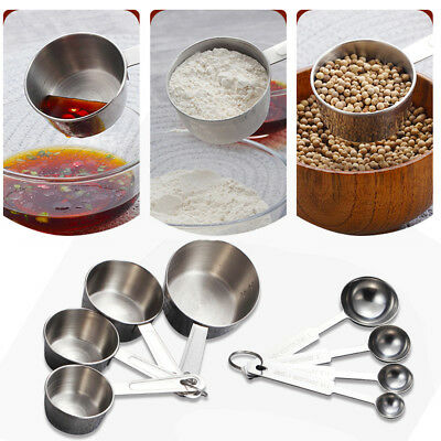 4PCS/Set Stainless Steel Measuring Cups Spoons Kitchen DIY Tools Baking Teaspoon