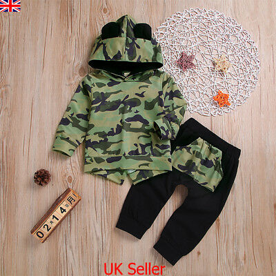UK Infant Kids Baby Boys Clothes Camo Hooded Tops Pants Outfits Sets Tracksuit