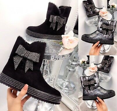 Ladies Womens Ankle Diamante Bow Low Heel Fur Lined Winter Warm Boots Shoes Sz