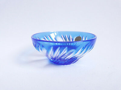 FRENCH CRYSTAL D'ARQUES CUT TO CLEAR  BLUE SALT/TRINKET 2Cased Pbo