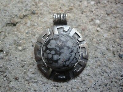 Ancient Roman Senatorial SILVER Pendant Amulet with Natural Stone Wearable